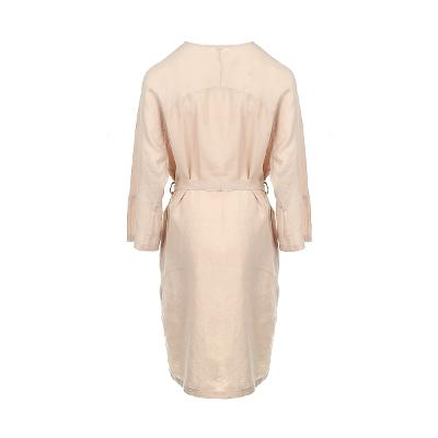 back yoke wrap dress beige
